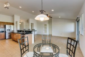 Dining Area, Kitchen, Living room,Tile Flooring, Recessed lighting,