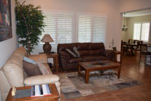 Living Room, Entertaining, Couches, Plantation Shutters,