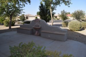 Backyard Water Feature, seating, on walking path