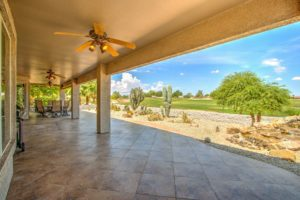 tiled patio, outdoor ceiling fans & lights, golf course views, pond