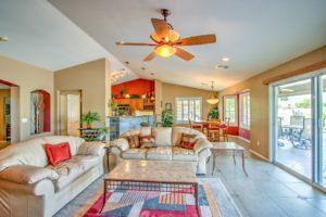 open floorplan, ceiling fans, natural lighting